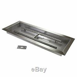 Rectangular Drop-In Stainless Steel Fire Pit Pan with Built-In H-Burner 24 X 8