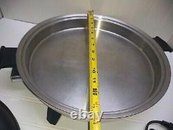Rena Ware Stainless 14 Electric Skillet Roaster Buffet Server Pan Griddle & Lid