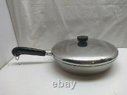 Revere Copper Clad 10 Skillet Saute Stir Fry Pan Egg Poacher Insert Cups & Lid