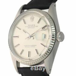 Rolex DateJust 1601 Sigma 36mm Steel Fluted Silver Pie Pan Black Leather Watch