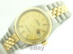 Rolex Datejust 1601 18K Yellow Gold/Steel Champagne Pie Pan Dial Auto Mens Watch