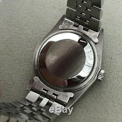 Rolex Datejust 1601 36mm Stainless Steel Pie Pan 18k White gold bezel WithService