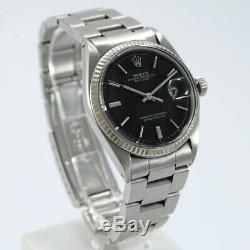Rolex Datejust 1601 Black Matte Pie Pan Dial Year 1968 Stainless Steel