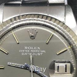 Rolex Datejust Ref. 1601, Bezel White Gold, Glossy Gray Pie Pan Dial, Steel