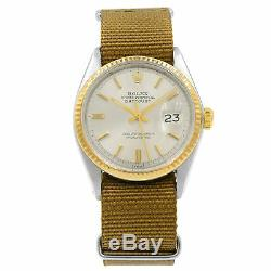 Rolex Datejust Sticks Pie Pan Dial Steel Automatic Yellow Gold Mens Watch 1601
