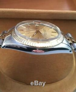 Rolex Oyster Perpetual Datejust Mens Steel And Gold 36mm Pie Pan Dial