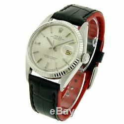 Rolex Watch Men 36mm Datejust 1601 Silver Pie-Pan Dial Leather Band Fluted Bezel