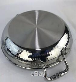 Ruffoni Opus Prima Hammered Stainless-Steel Shallow Braiser Pot Pan
