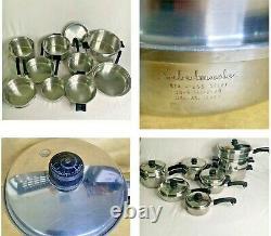 SALADMASTER 18-8 TRI CLAD Stainless Waterless Stockpot Poacher Pans 24 Piece USA