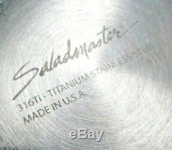 SALADMASTER 316Ti TITANIUM 12 GOURMET SKILLET FRY PAN & LID STAINLESS WATERLESS