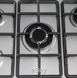 SIA SSG702SS 70cm 5 Burner Gas Hob In Stainless Steel With Enamel Pan Stands
