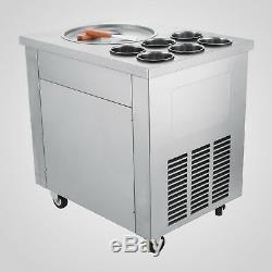 Single Pan Fried Ice Cream Machine 220V 6 Boxes Fruit Yogurt Roll Maker