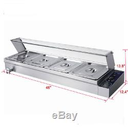 Stainless Steel 4 Pot Electric Bain Marie 1/2 GN Pan Food Display 5.5L Warmer