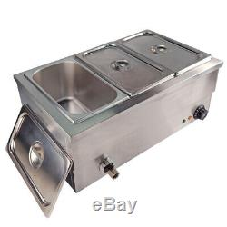 Stainless Steel Bain Marie Electric Wet Heat Food Warmer Commercial GN Pan &Lid