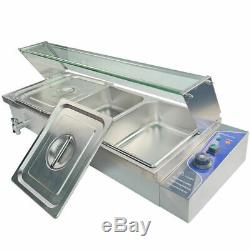 Stainless Steel Food Warmer Commercial Electric Bain Marie Catering GN Pan &Lid