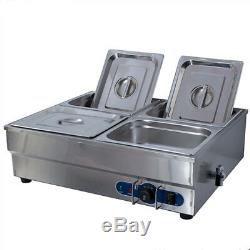 Stainless Steel Food Warmer Commercial Electric Bain Marie With 4 Pan & Lids 1/2