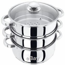 Stainless Steel Multi Veg Steamer Cooker Pot Pan Set With LID New 3 Tier 22cm
