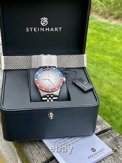 Steinhart Vintage Pepsi Pan Am Swiss Made Dual Time GMT Diver Watch + Mesh