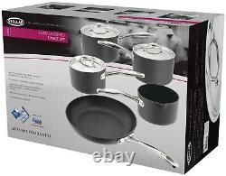 Stellar 6000 5 Piece Hard Anodised Non Stick Pan Set with Lids, Induction Cookware