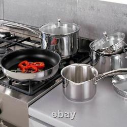 Stellar 7000 5 Piece Draining Saucepan Set Suits Induction Non Stick Frying Pan