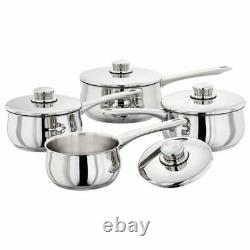 Stellar Set Of 4 Stainless Steel Saucepans Pans With Lids 14cm 16cm 18cm 20cm