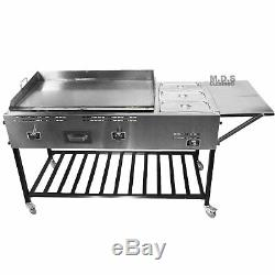 Taco Cart Stainless Steel Griddle with3 Steamers Pans Catering Plancha Propane Gas