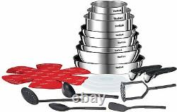 Tefal Ingenio Stainless Steel 22 Piece Pots Pans Set 9 19 Induction Gas Electric