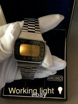 ULTRA RARE SEIKO PAN-AM LC Lemon DISPLAY DIGITAL 1970s WORLDTIME BOX EXCELLENT