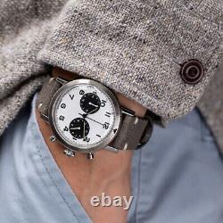 Undone Type 20 Hybrid Quartz Mechanic Chronograph Steel Black Pilot Mens Watch