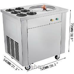 VEVOR Single Pan Fried Ice Cream Machine With Six Buckets Yogurt Juice Roll Maker