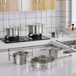 Velaze Cookware Set 12 Piece Stainless Steel Kitchen Cooking Pot&Pan Sets