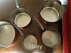 Vintage French Tournus Copper Pan Set 5 Stainless Steel Lined Iron Handles 4.6kg