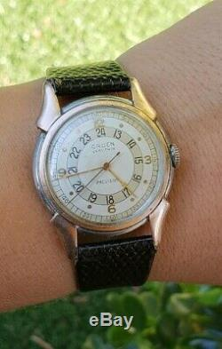 Vintage Gruen Precision Very Thin Pan Am WWII Military Pilot Men Watch 420 534SS