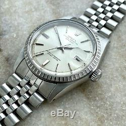 Vintage Rolex Datejust Pie Pan 1601 Silver Door Stop Dial 36mm Jubilee Bracelet