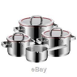 WMF Function 4 4-Piece POT Cookware Pan Set Cromargan Stainless Steel Glass Lid