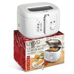 White 2.5l Electric Deep Fat Chip Fryer Non Stick Pan Safe Basket Handle Window