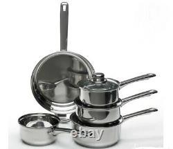 Wilko Set of 5 Stainless Steel Lightweight Dishwasher Safe Sauce Pan Set -NEW